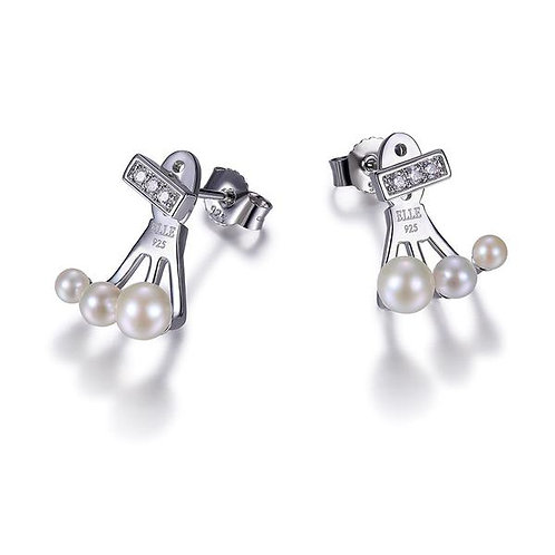 ELLE Jewelry Majestic Three White Pearl Silver Pave Post Earrings