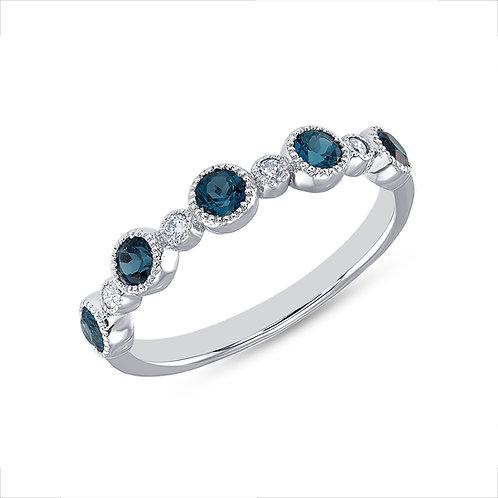 White Gold Blue Topaz & Diamond Ring