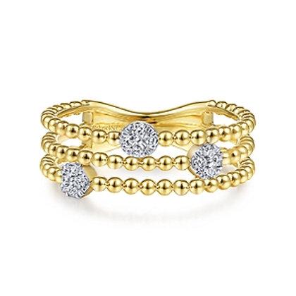 Yellow Gold Diamond Beaded Ring