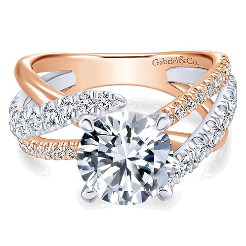 Gabriel & Co. Zaire 14k White/Rose Gold Round Free Form Engagement Ring