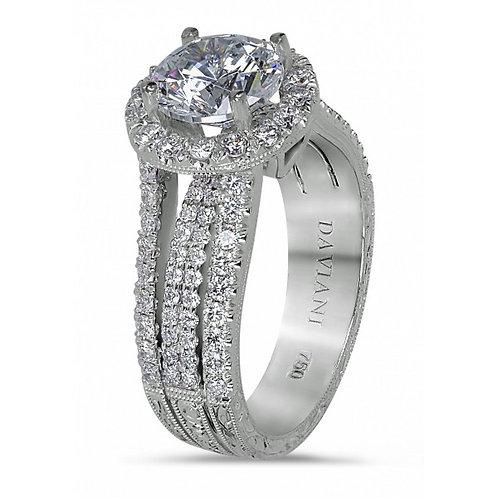 Daviani 19k White Gold Halo Engagement Ring