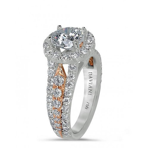 Daviani 19k White Gold and Rose Gold Halo Engagement Ring