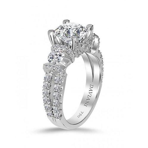 Daviani 19k White Gold 3-Stone Engagement Ring