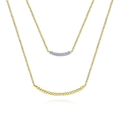 Yellow Gold Layer Diamond Necklace