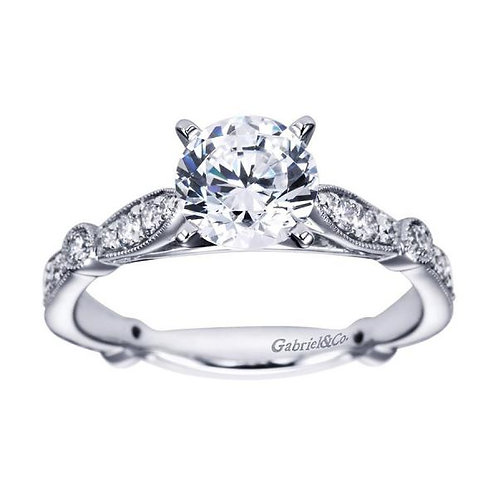 Gabriel & Co. Mabel 14k White Gold Round Straight Engagement Ring