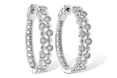 White Gold Diamond Semi Hoop Earrings