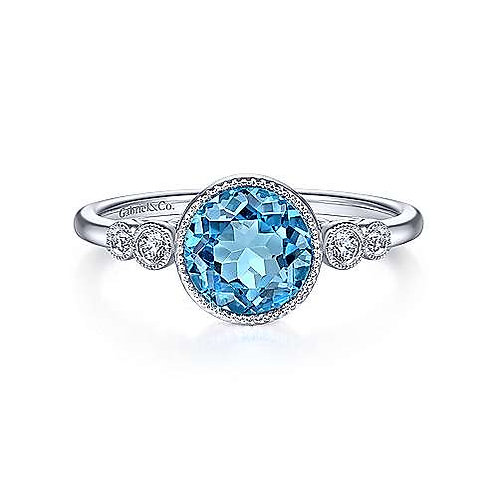 14K White Gold Round Bezel Set Blue Topaz and Diamond Ring
