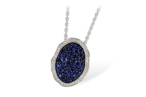 White Gold Blue Sapphire & Diamond Necklace