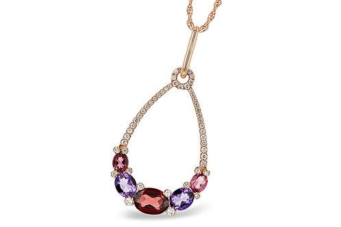 Rose Gold Gemstone & Diamond Necklace