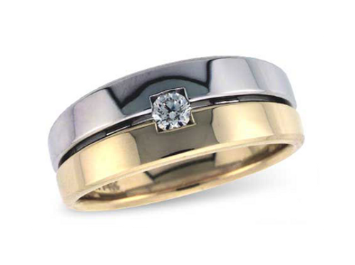 Allison Kaufman 14k Two-Tone Gents Diamond Wedding Ring