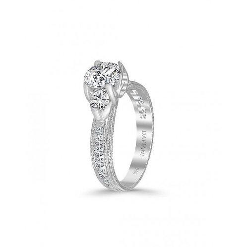 Daviani 19k White Gold 3 Stone Engagement Ring