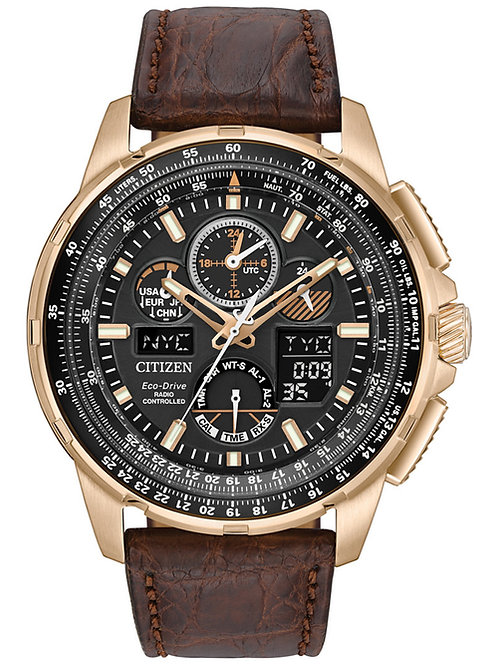 Citizen Eco-Drive Men's Analog-Digital Chronograph Skyhawk A-T Leather Watch