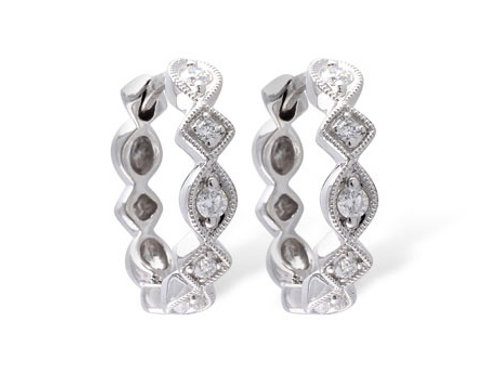 Allison Kaufman 14k White Gold Diamond Earrings