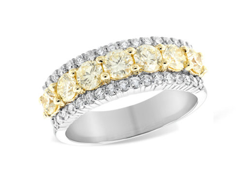 Allison Kaufman 14k White Gold Yellow and Colorless Diamond Engagement Ring