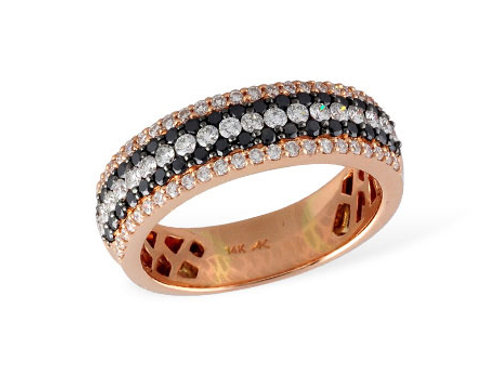 Allison Kaufman 14k Rose Gold Black and Colorless Diamond Band
