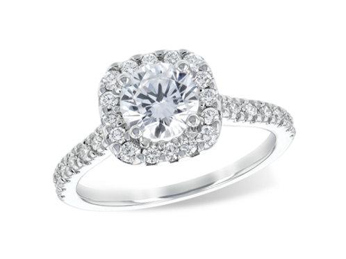 Allison Kaufman 14k White Gold Halo Engagement Ring
