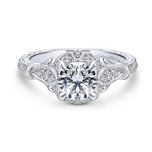 Gabriel & Co. Montgomery 14k White Gold Round Halo Engagement Ring