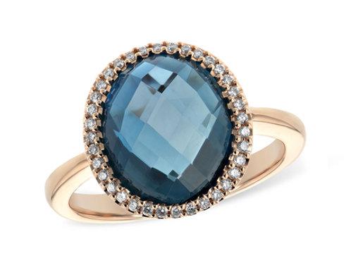 Allison Kaufman 14k Gold London Blue Topaz and Diamond Fashion Ring