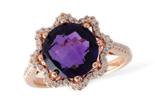 Rose Gold Amethyst & Diamond Ring