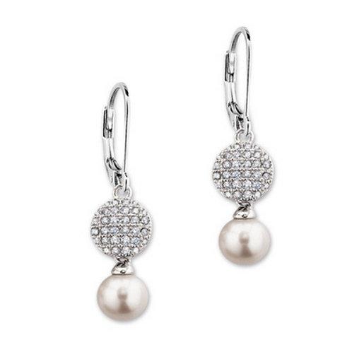 ELLE Jewelry Pretty in Pearls Sterling Silver Pearl & Micro Pave CZ Earrings