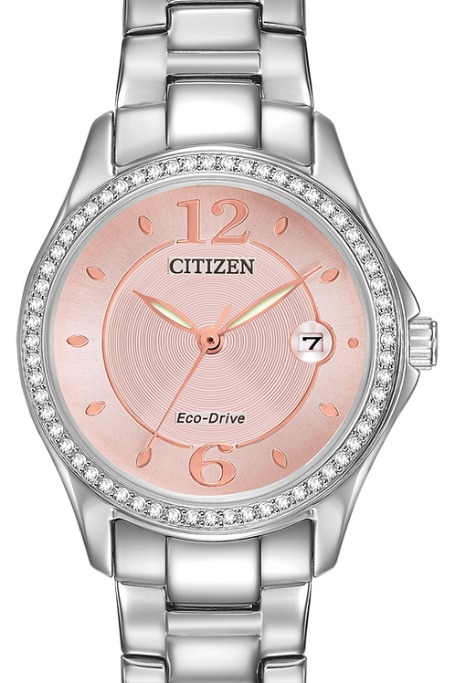 Lds Eco-Drive Sihouette Crystal Watch