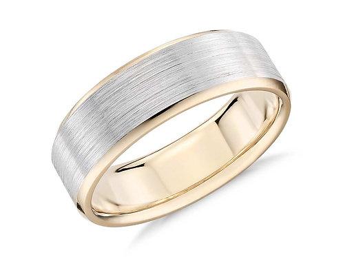 Novell 14k Two Tone Brushed Beveled Edge Wedding Ring