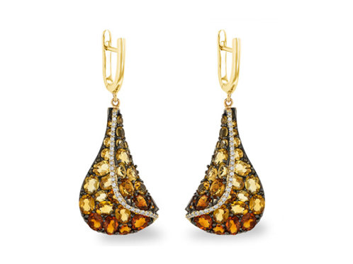 Allison Kaufman 14k Yellow Gold Citrine and Diamond Earrings