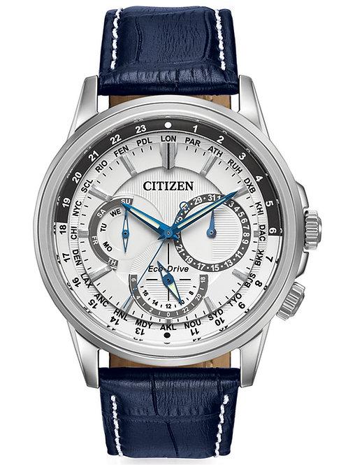 Citizen Men's Eco-Drive Calendrier Blue Leather Strap Watch