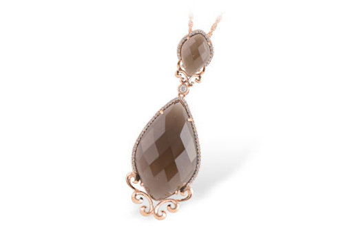 Rose Gold Smky Quartz & Diamond Necklace