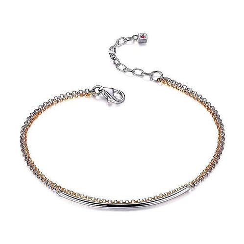 ELLE Jewelry Waterfall Two Tone Double Chain Bracelet