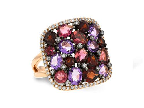 Allison Kaufman 14k Yellow Gold Semi-Precious and Diamond Fashion Ring