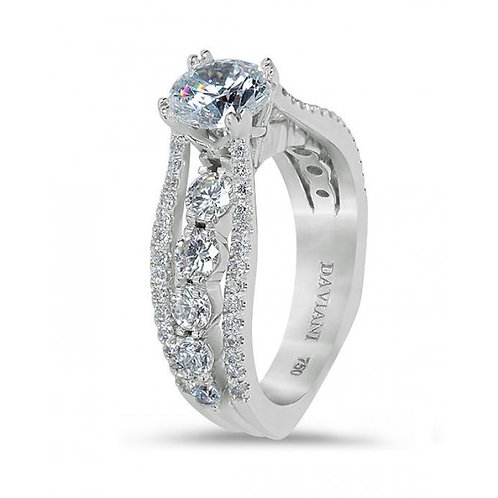 Daviani 19k White Gold Cathedral Style Engagement Ring