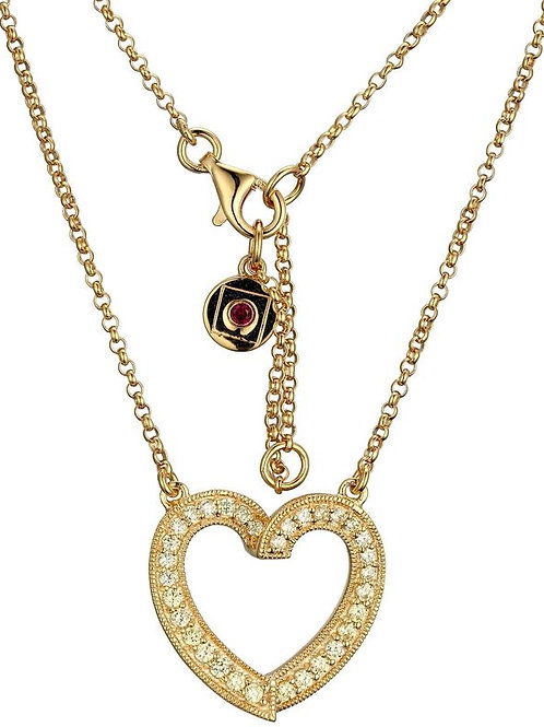 ELLE Jewelry 14k Gold Plated Heart CZ Pendant
