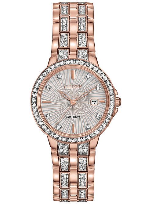 Citizen Women's Eco-Drive Crystal Accent Rose Gold-Tone SS Bracelet Watch