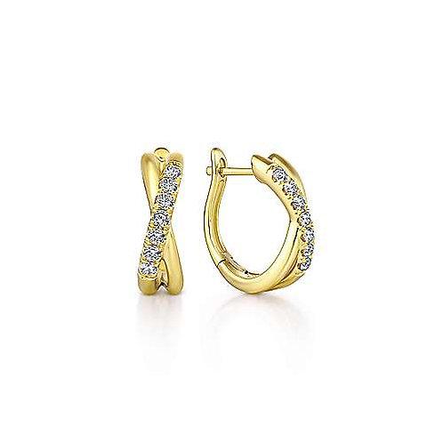 Yellow Gold Diamond Twisted Huggie Earrings