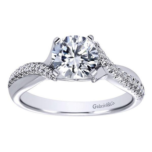 Gabriel & Co. Scout 14k White Gold Round Twisted Engagement Ring