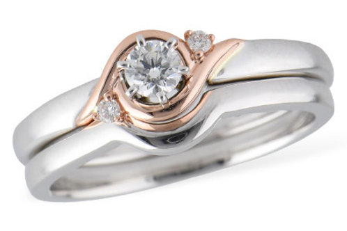 Allison Kaufman 2-Tone 3 Stone Engagement Ring