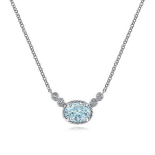 14K White Gold Aquamarine and Diamond Necklace
