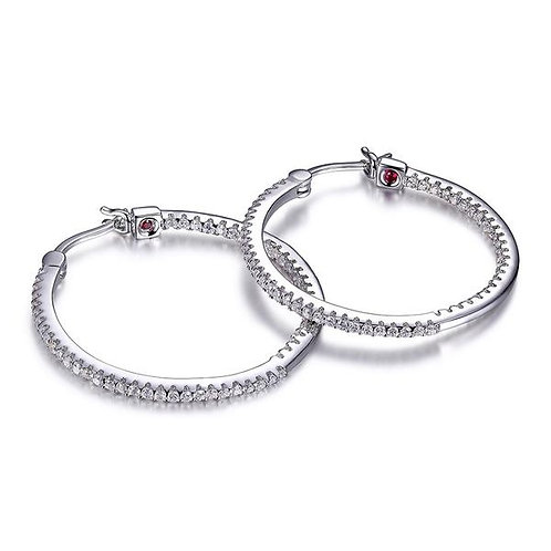 ELLE Jewelry Rodeo Drive Silver Pave Hoop Earrings