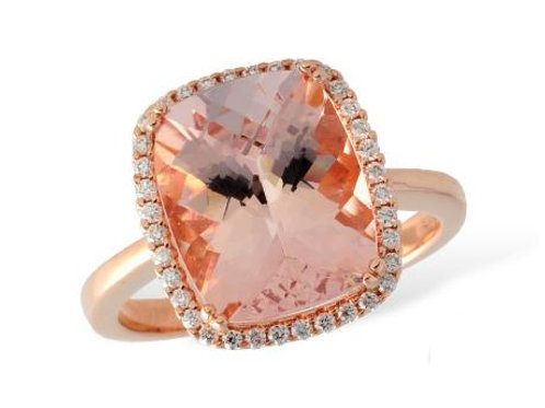Allison Kaufman 14k Rose Gold Morganite and Diamond Ring