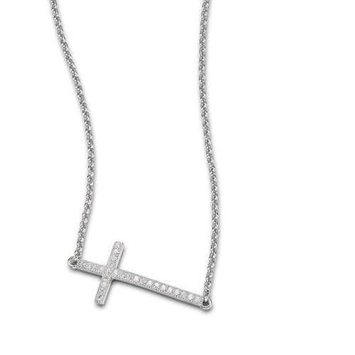 ELLE Jewelry Humanity Sterling Silver Pave CZ Sideways Cross Necklace