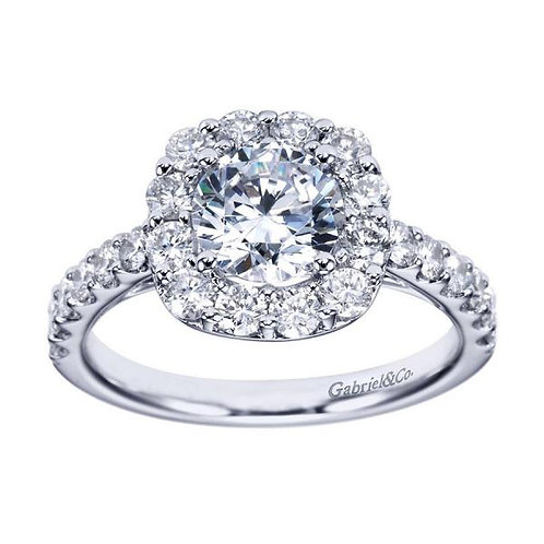 Gabriel & Co. Skylar 14k White Gold Round Halo Engagement Ring