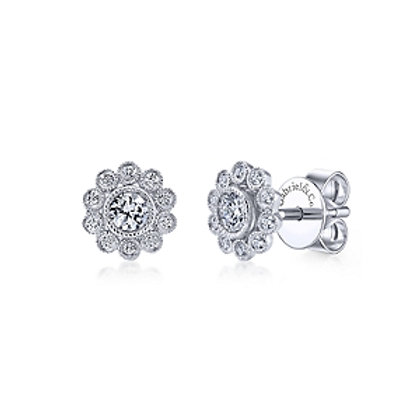 White Gold Scallop Diamond Earrings