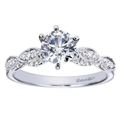 Gabriel & Co. Clara 14k White Gold Round Straight Engagement Ring