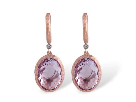 Allison Kaufman 14k Rose Gold Amethyst and Diamond Earrings