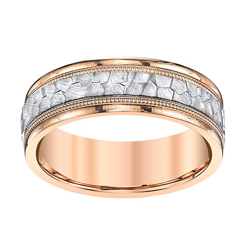 Novell 18K Rose Gold and Platinum Hammered Wedding Band