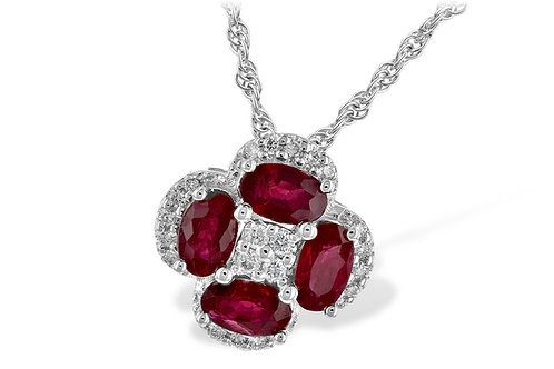 14k White Gold Ruby and Diamond Necklace