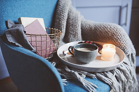 Cozy winter weekend at home. Morning wit