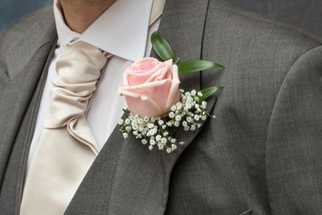 Blush pink rose and gypsophila buttonhole