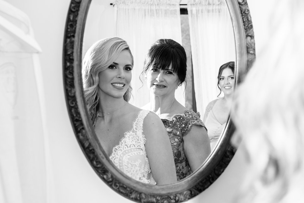 Mother Daughter and bridesmaid picture on wedding day